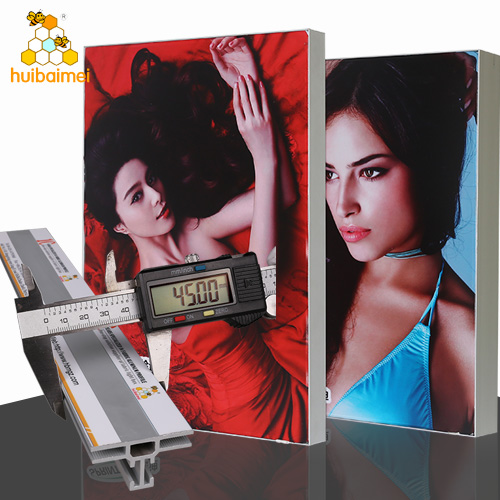 Custom size and shape 45mm aluminum material double sided fabric frameless thin light box
