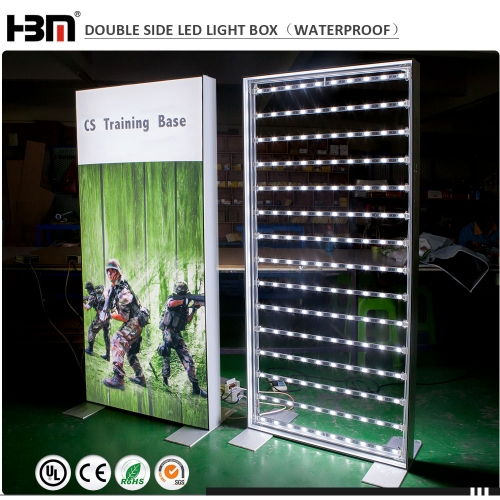 2018 new product double face framless aluminum profile backlit fabric light box for ourdoor