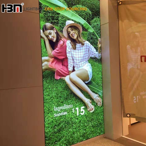 wall mounted led backlit display frameless advertising fabric light box