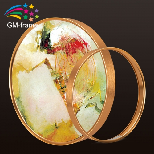 round shape decorative photo frame Wall mount picture display circular aluminum photo frame